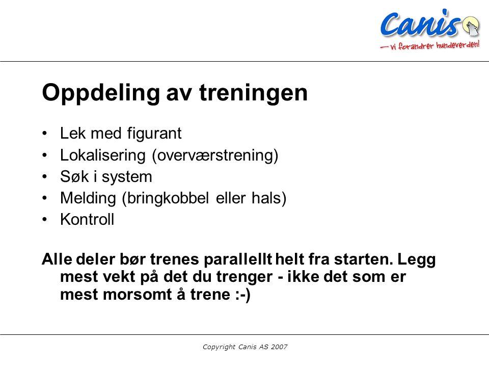 Copyright Canis AS 2007 Oppdeling av treningen Lek med figurant Lokalisering (overværstrening) Søk i system Melding (bringkobbel eller hals) Kontroll