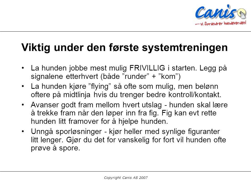 Copyright Canis AS 2007 Søk i system - videregående LÆR hunden blindslag (baklengskjeding!) - men pass på at hunden kan det den trenger først.