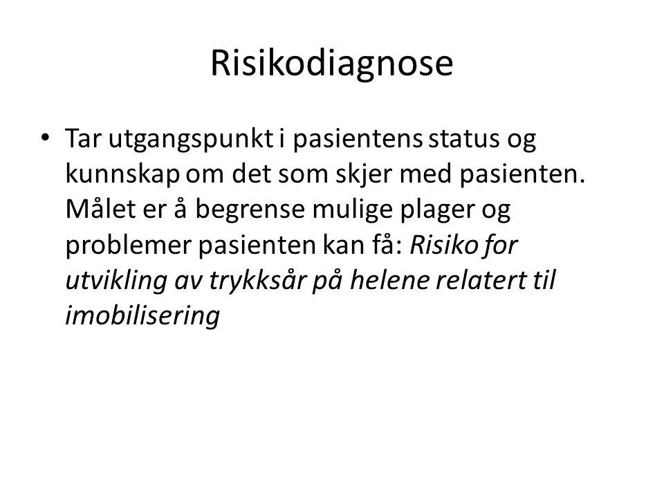 Risikodiagnose Tar utgangspunkt i pasientens status og kunnskap om det som skjer med pasienten. Målet er å begrense mulige plager og problemer pasient