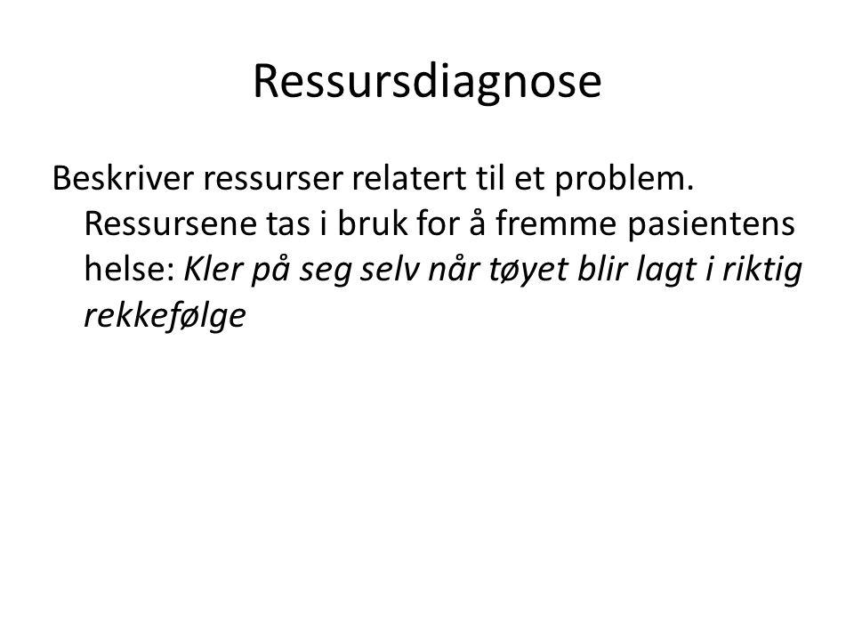 Ressursdiagnose Beskriver ressurser relatert til et problem. Ressursene tas i bruk for å fremme pasientens helse: Kler på seg selv når tøyet blir lagt