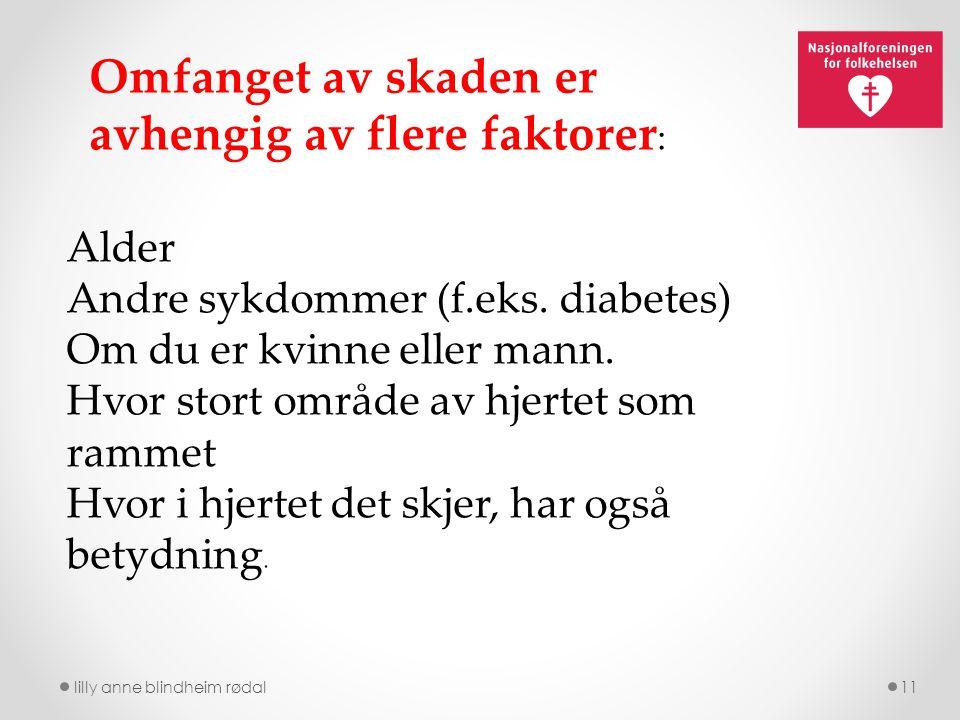 lilly anne blindheim rødal11 Alder Andre sykdommer (f.eks. diabetes) Om du er kvinne eller mann. Hvor stort område av hjertet som rammet Hvor i hjerte