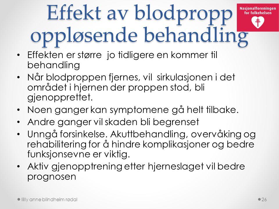 Effekt av blodpropp oppløsende behandling Effekten er større jo tidligere en kommer til behandling Når blodproppen fjernes, vil sirkulasjonen i det om