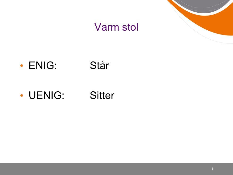 Varm stol ENIG: Står UENIG:Sitter 2