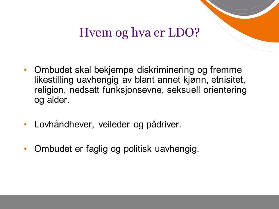 Hvem og hva er LDO? Ombudet skal bekjempe diskriminering og fremme likestilling uavhengig av blant annet kjønn, etnisitet, religion, nedsatt funksjons