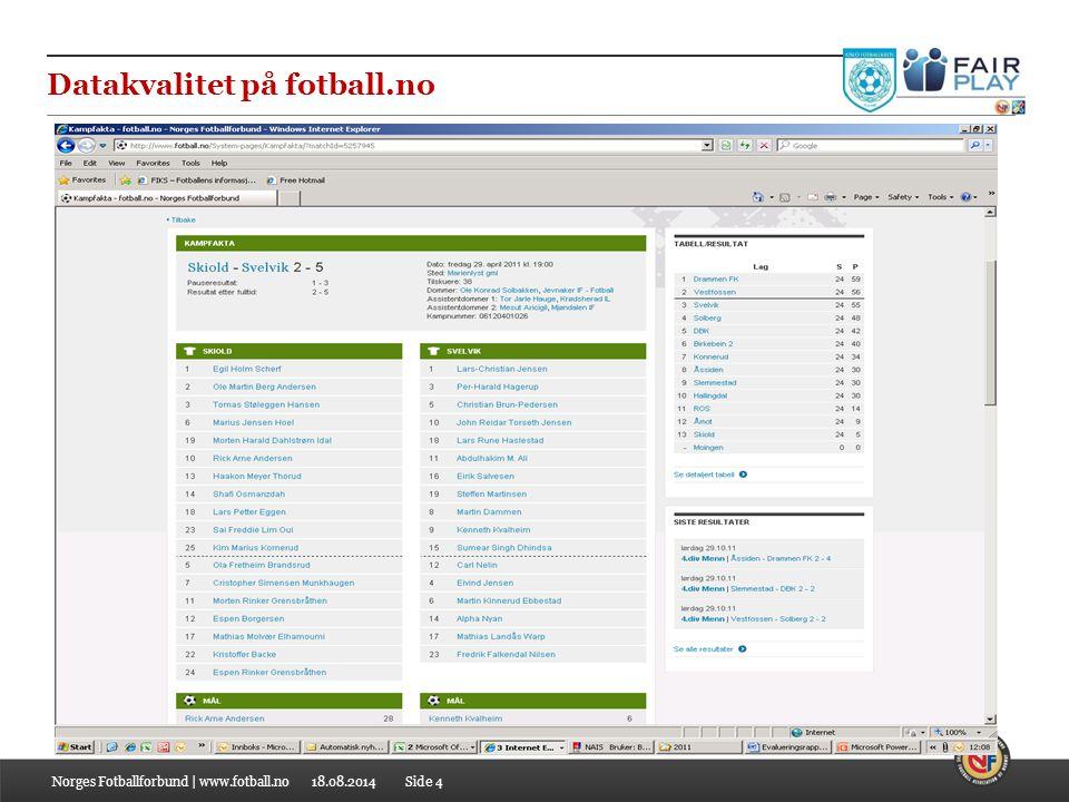 18.08.2014 Datakvalitet på fotball.no Norges Fotballforbund | www.fotball.noSide 4