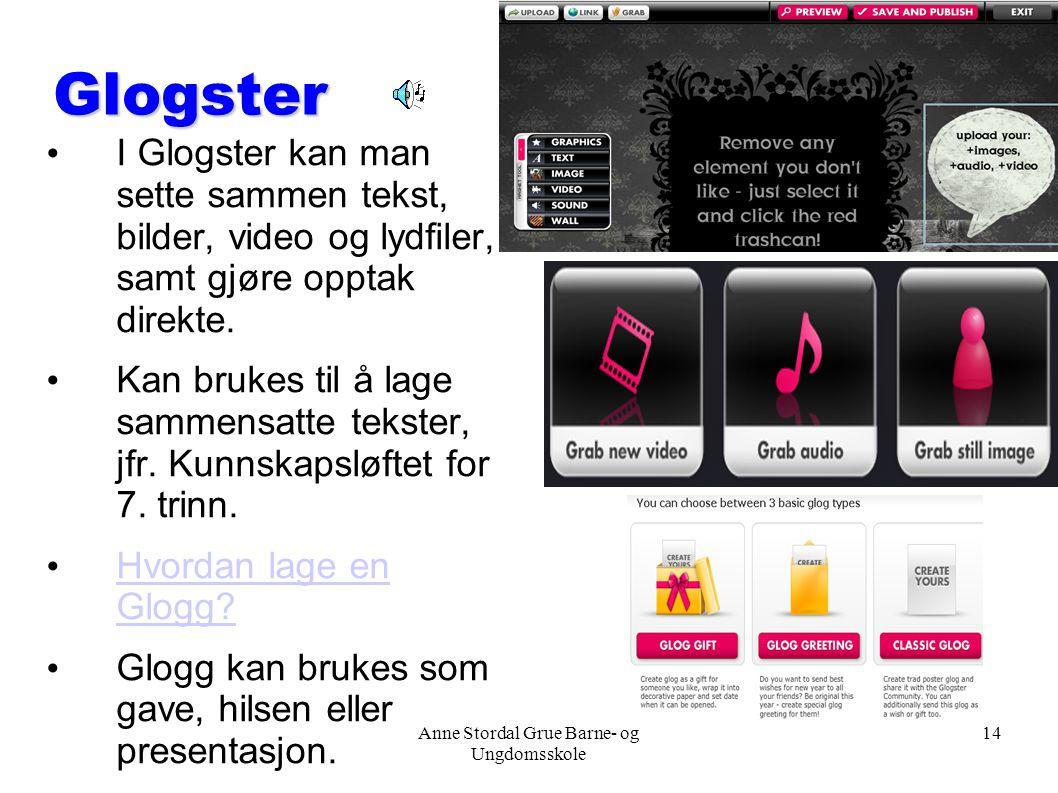 Anne Stordal Grue Barne- og Ungdomsskole 14 Glogster I Glogster kan man sette sammen tekst, bilder, video og lydfiler, samt gjøre opptak direkte. Kan