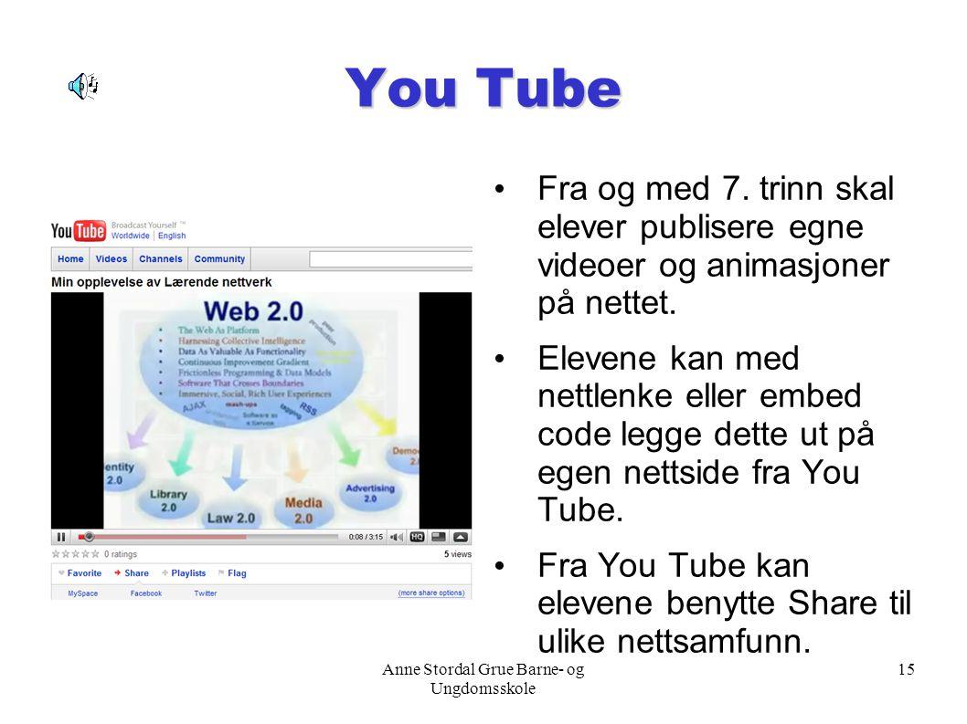 Anne Stordal Grue Barne- og Ungdomsskole 15 You Tube Fra og med 7. trinn skal elever publisere egne videoer og animasjoner på nettet. Elevene kan med