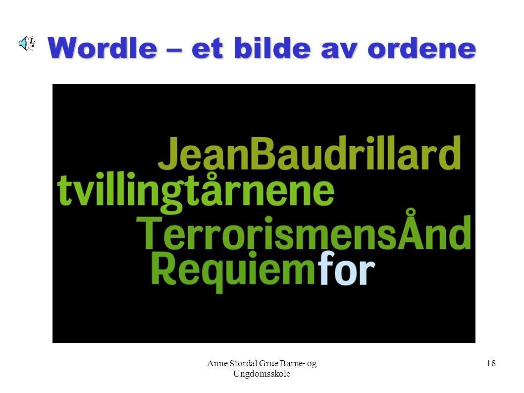 Anne Stordal Grue Barne- og Ungdomsskole 18 Wordle – et bilde av ordene