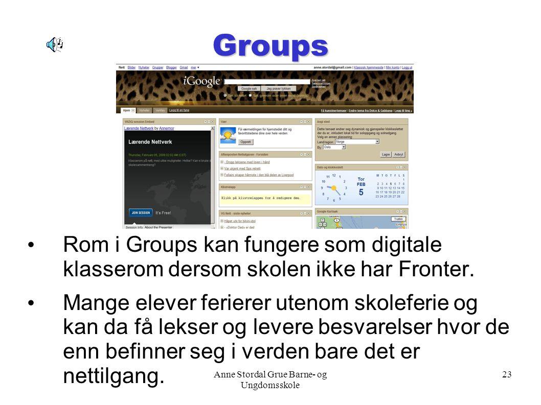 Anne Stordal Grue Barne- og Ungdomsskole 23 Groups Rom i Groups kan fungere som digitale klasserom dersom skolen ikke har Fronter. Mange elever ferier