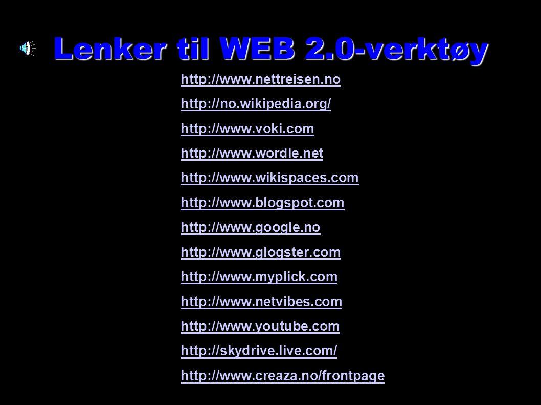 Anne Stordal Grue Barne- og Ungdomsskole 24 Lenker til WEB 2.0-verktøy http://www.nettreisen.no http://no.wikipedia.org/ http://www.voki.com http://ww