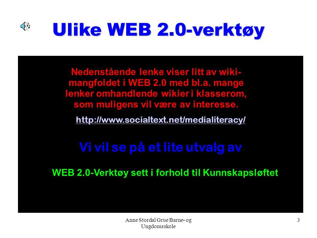 Anne Stordal Grue Barne- og Ungdomsskole 3 Ulike WEB 2.0-verktøy http://www.socialtext.net/medialiteracy/ Vi vil se på et lite utvalg av Nedenstående