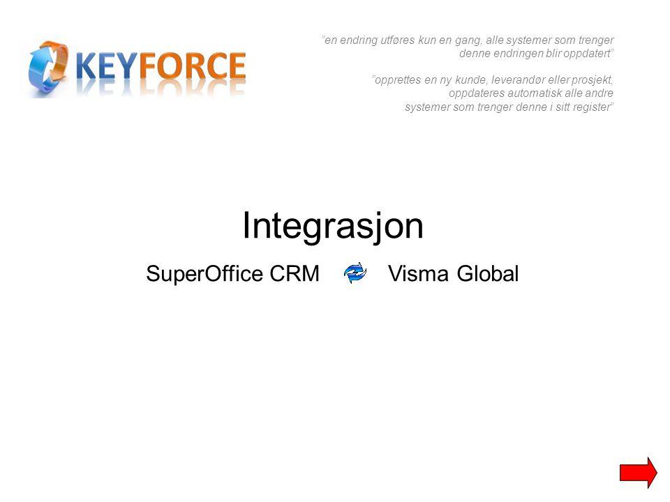 """Integrasjon SuperOffice CRM Visma Global """"en endring utføres kun en gang, alle systemer som trenger denne endringen blir oppdatert"""" """"opprettes en ny k"""