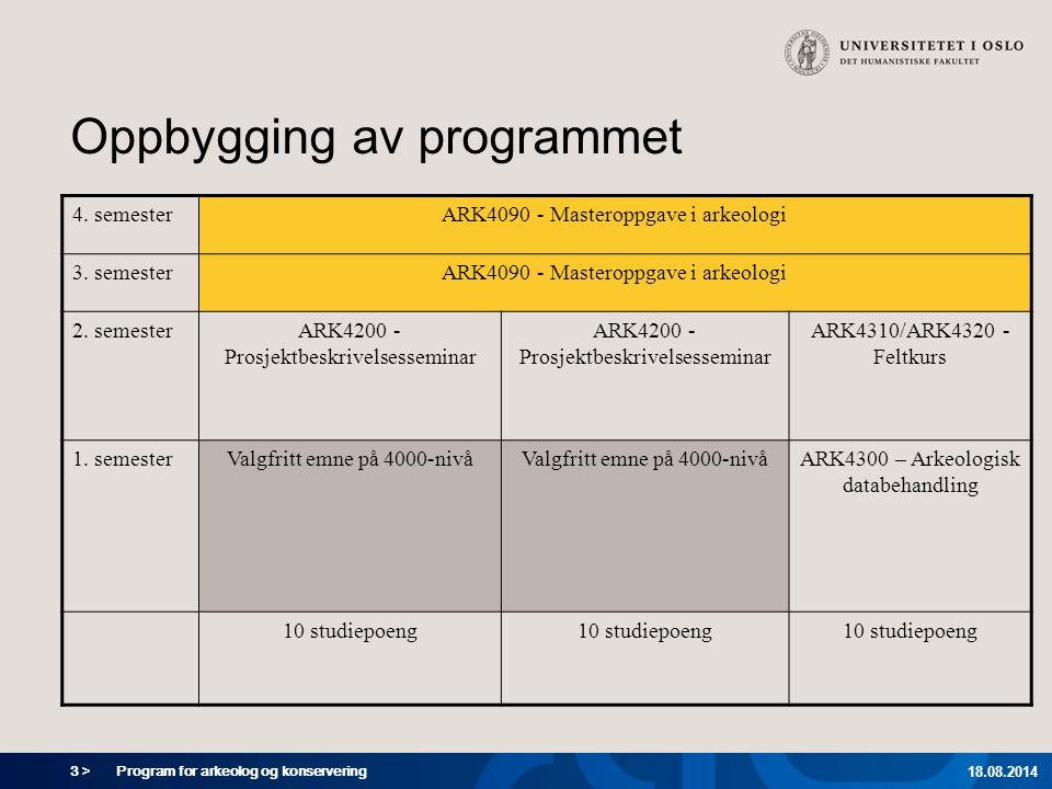 3 > Program for arkeolog og konservering 18.08.2014 Oppbygging av programmet 4. semesterARK4090 - Masteroppgave i arkeologi 3. semesterARK4090 - Maste