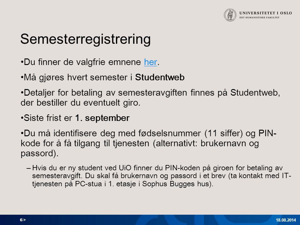 7 > Program for arkeologi og konservering 18.08.2014 Utdanningsplan – Meny og inngangsside Trykk her!