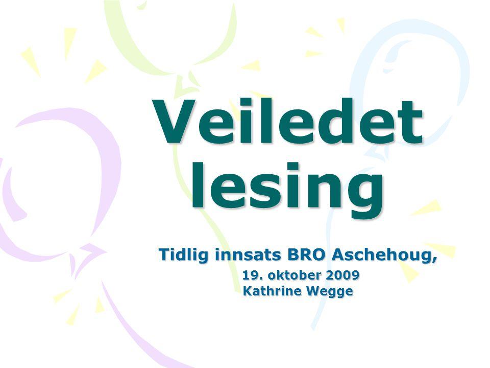 Veiledet lesing Tidlig innsats BRO Aschehoug, 19. oktober 2009 19. oktober 2009 Kathrine Wegge