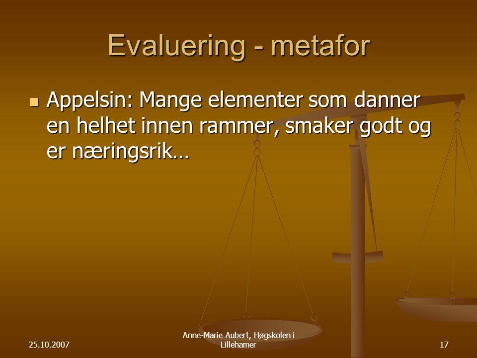 25.10.2007 Anne-Marie Aubert, Høgskolen i Lillehamer17 Evaluering - metafor Appelsin: Mange elementer som danner en helhet innen rammer, smaker godt og er næringsrik… Appelsin: Mange elementer som danner en helhet innen rammer, smaker godt og er næringsrik…