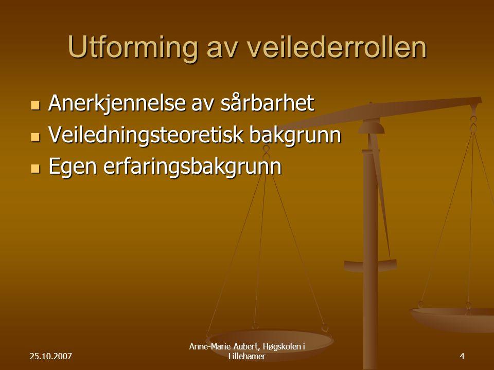 25.10.2007 Anne-Marie Aubert, Høgskolen i Lillehamer4 Utforming av veilederrollen Anerkjennelse av sårbarhet Anerkjennelse av sårbarhet Veiledningsteoretisk bakgrunn Veiledningsteoretisk bakgrunn Egen erfaringsbakgrunn Egen erfaringsbakgrunn