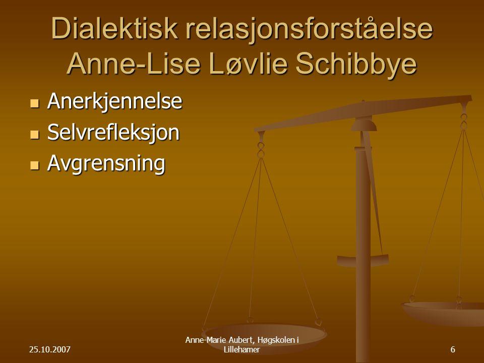 25.10.2007 Anne-Marie Aubert, Høgskolen i Lillehamer6 Dialektisk relasjonsforståelse Anne-Lise Løvlie Schibbye Anerkjennelse Anerkjennelse Selvrefleksjon Selvrefleksjon Avgrensning Avgrensning