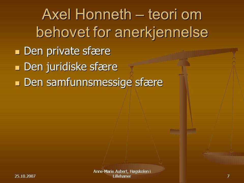 25.10.2007 Anne-Marie Aubert, Høgskolen i Lillehamer7 Axel Honneth – teori om behovet for anerkjennelse Den private sfære Den private sfære Den juridiske sfære Den juridiske sfære Den samfunnsmessige sfære Den samfunnsmessige sfære