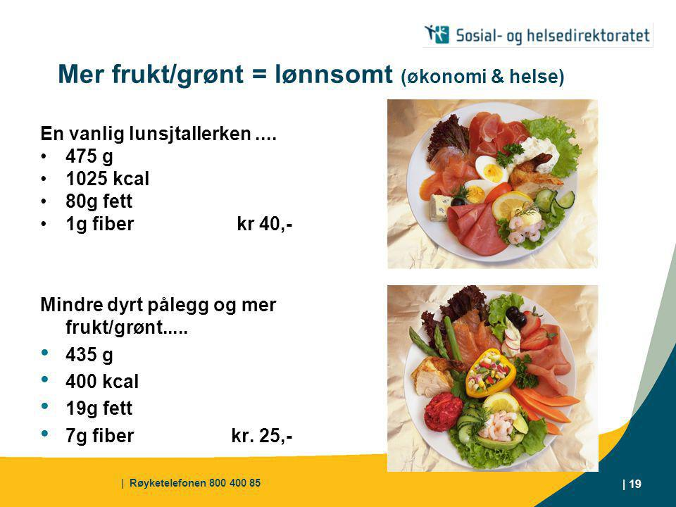 | Røyketelefonen 800 400 85 | 19 Mer frukt/grønt = lønnsomt (økonomi & helse) En vanlig lunsjtallerken....