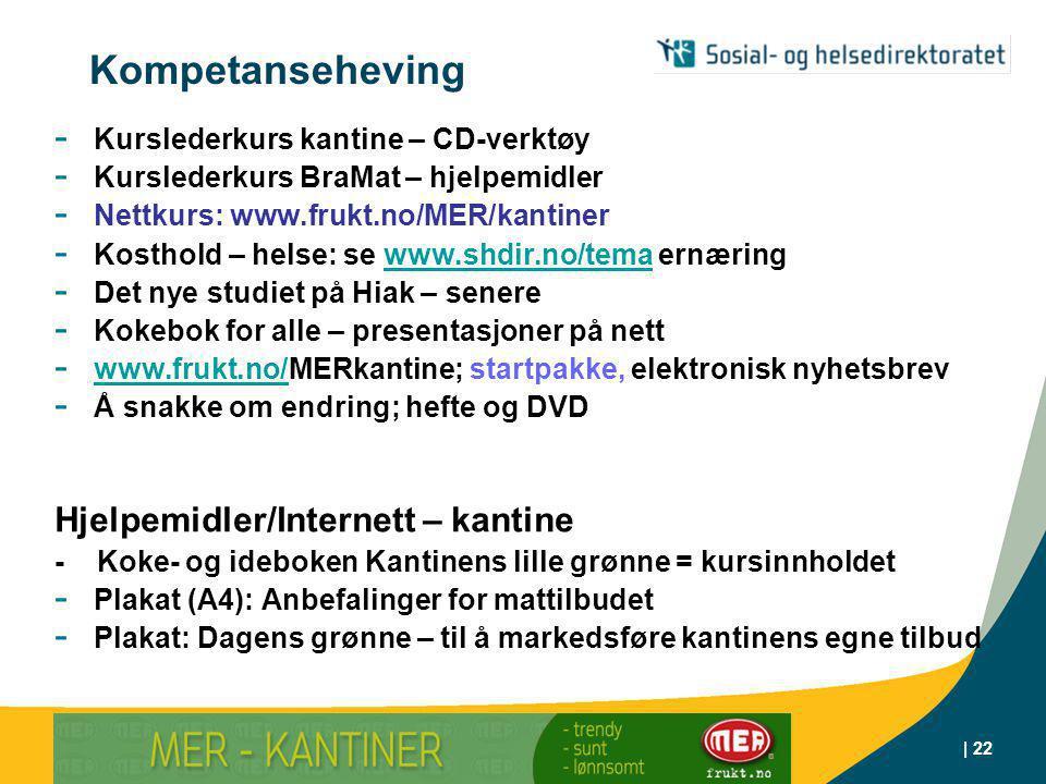 | Røyketelefonen 800 400 85 | 22 - Kurslederkurs kantine – CD-verktøy - Kurslederkurs BraMat – hjelpemidler - Nettkurs: www.frukt.no/MER/kantiner - Kosthold – helse: se www.shdir.no/tema ernæringwww.shdir.no/tema - Det nye studiet på Hiak – senere - Kokebok for alle – presentasjoner på nett - www.frukt.no/MERkantine; startpakke, elektronisk nyhetsbrev www.frukt.no/ - Å snakke om endring; hefte og DVD Hjelpemidler/Internett – kantine - Koke- og ideboken Kantinens lille grønne = kursinnholdet - Plakat (A4): Anbefalinger for mattilbudet - Plakat: Dagens grønne – til å markedsføre kantinens egne tilbud Kompetanseheving