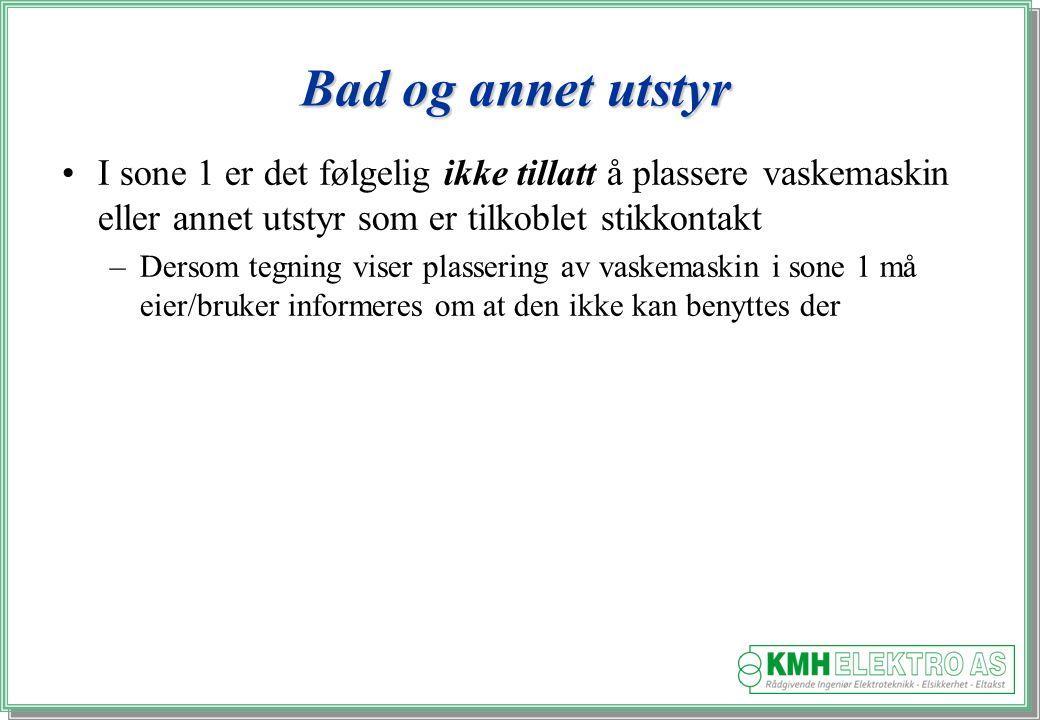 Kjell Morten Halvorsen Bad og annet utstyr I sone 1 er det følgelig ikke tillatt å plassere vaskemaskin eller annet utstyr som er tilkoblet stikkontakt –Dersom tegning viser plassering av vaskemaskin i sone 1 må eier/bruker informeres om at den ikke kan benyttes der
