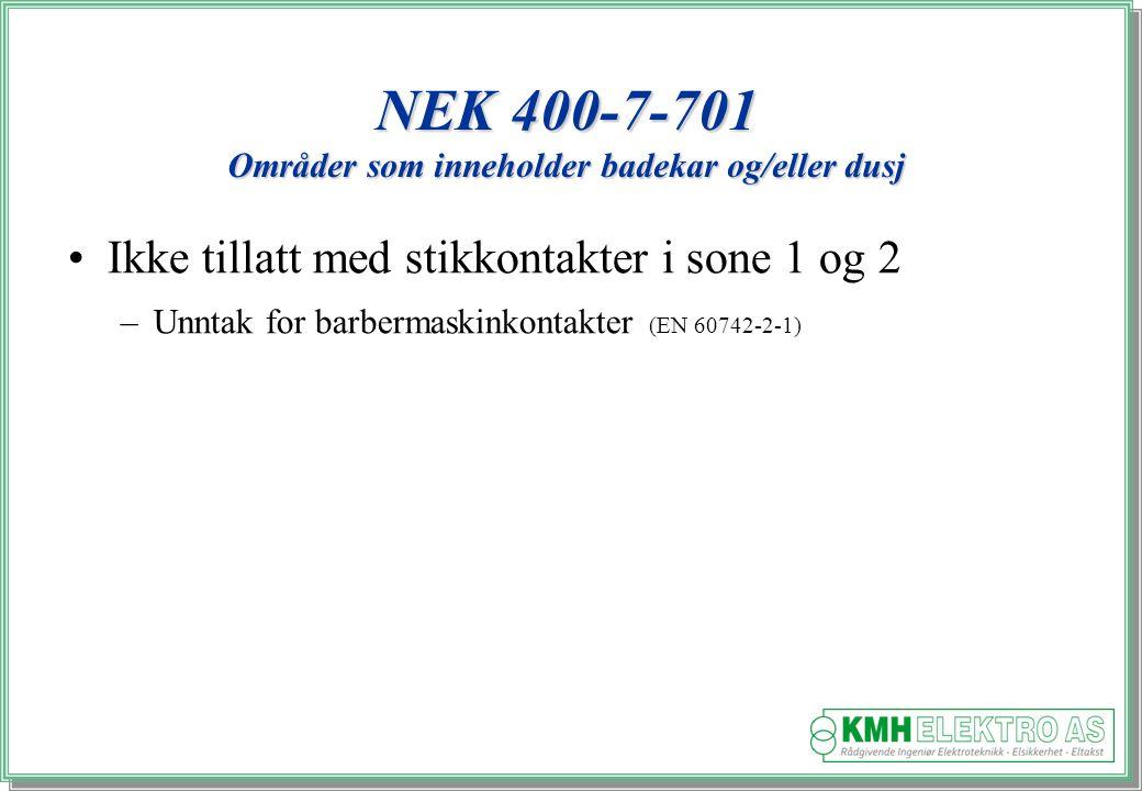 Kjell Morten Halvorsen NEK 400-7-701 Områder som inneholder badekar og/eller dusj Ikke tillatt med stikkontakter i sone 1 og 2 –Unntak for barbermaskinkontakter (EN 60742-2-1)