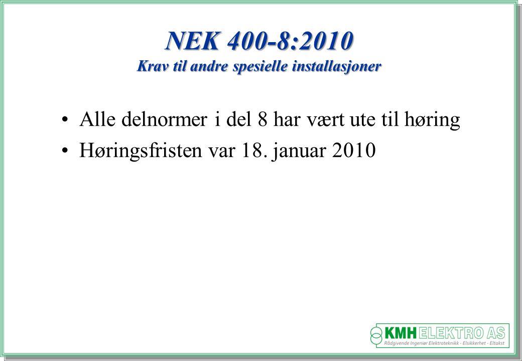 Kjell Morten Halvorsen NEK 400-8:2010 Krav til andre spesielle installasjoner Alle delnormer i del 8 har vært ute til høring Høringsfristen var 18.