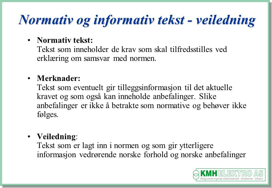Kjell Morten Halvorsen Normativ og informativ tekst - veiledning Normativ tekst: Tekst som inneholder de krav som skal tilfredsstilles ved erklæring om samsvar med normen.