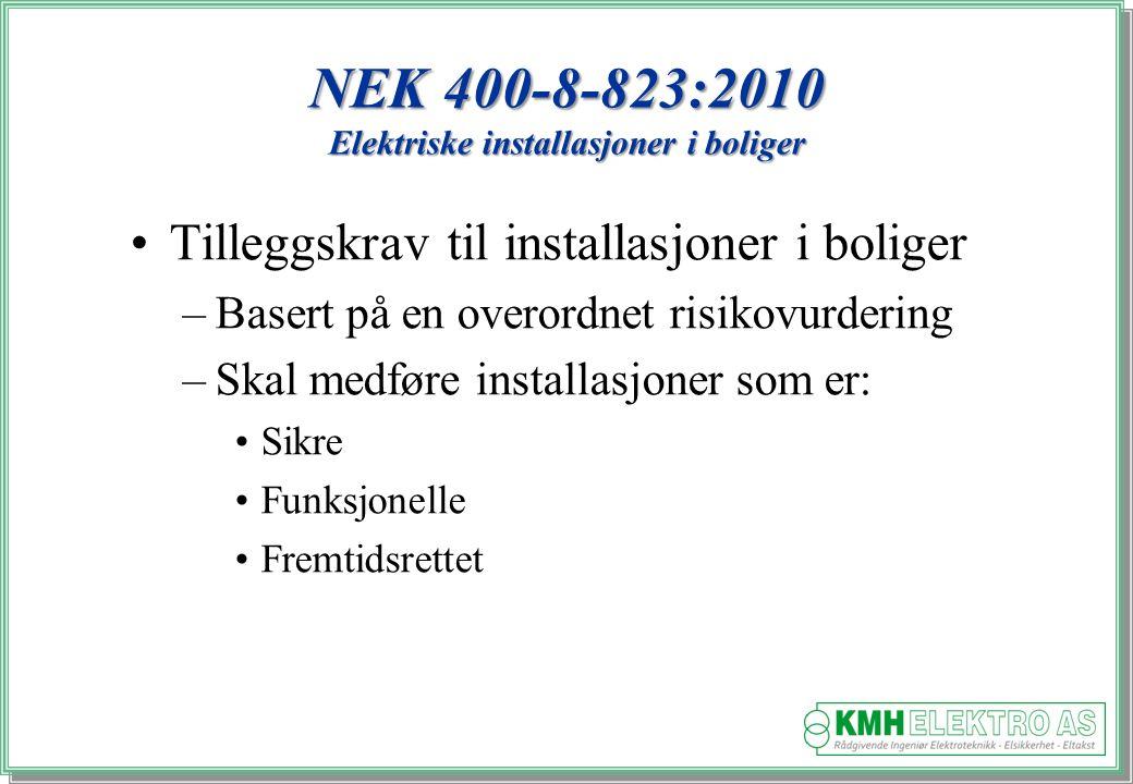 Kjell Morten Halvorsen NEK 400-8-823:2010 Elektriske installasjoner i boliger Tilleggskrav til installasjoner i boliger –Basert på en overordnet risikovurdering –Skal medføre installasjoner som er: Sikre Funksjonelle Fremtidsrettet