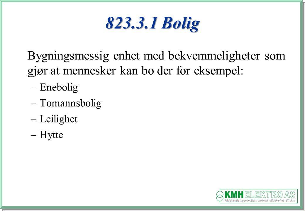 Kjell Morten Halvorsen 823.3.1 Bolig Bygningsmessig enhet med bekvemmeligheter som gjør at mennesker kan bo der for eksempel: –Enebolig –Tomannsbolig –Leilighet –Hytte