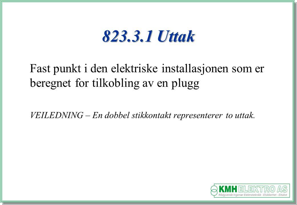 Kjell Morten Halvorsen 823.3.1 Uttak Fast punkt i den elektriske installasjonen som er beregnet for tilkobling av en plugg VEILEDNING – En dobbel stikkontakt representerer to uttak.