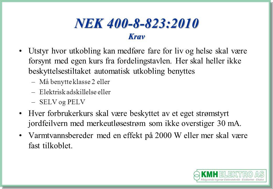 Kjell Morten Halvorsen NEK 400-8-823:2010 Krav Utstyr hvor utkobling kan medføre fare for liv og helse skal være forsynt med egen kurs fra fordelingstavlen.