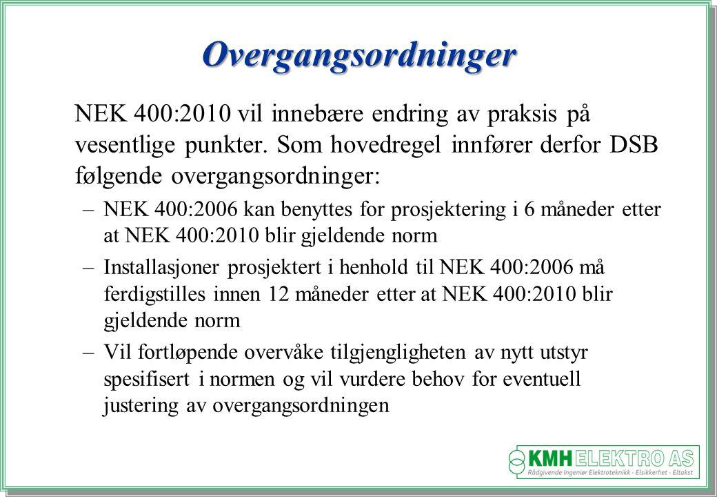 Kjell Morten Halvorsen Overgangsordninger NEK 400:2010 vil innebære endring av praksis på vesentlige punkter.