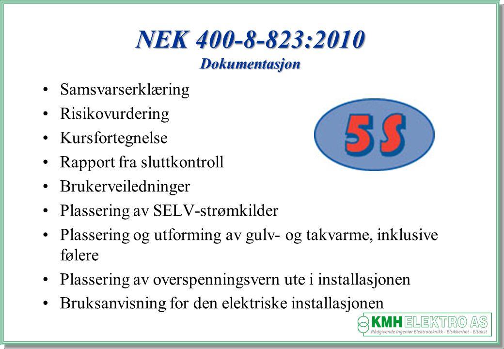 Kjell Morten Halvorsen Samsvarserklæring Risikovurdering Kursfortegnelse Rapport fra sluttkontroll Brukerveiledninger Plassering av SELV-strømkilder Plassering og utforming av gulv- og takvarme, inklusive følere Plassering av overspenningsvern ute i installasjonen Bruksanvisning for den elektriske installasjonen NEK 400-8-823:2010 Dokumentasjon