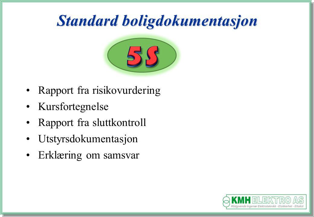 Kjell Morten Halvorsen Standard boligdokumentasjon Rapport fra risikovurdering Kursfortegnelse Rapport fra sluttkontroll Utstyrsdokumentasjon Erklæring om samsvar