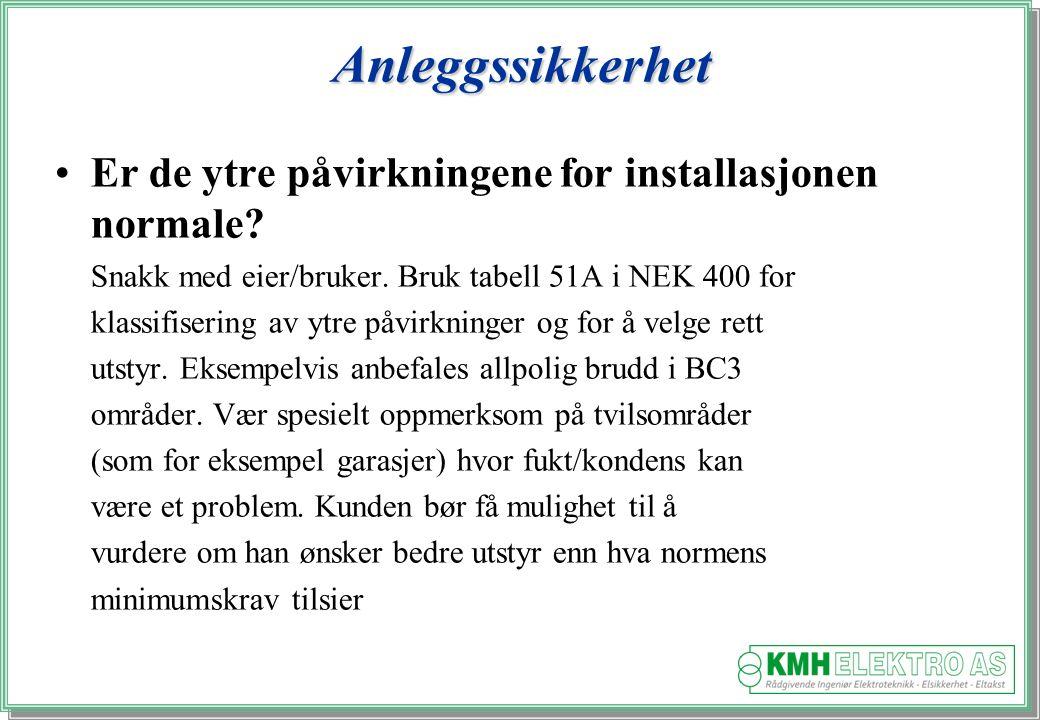 Kjell Morten Halvorsen Anleggssikkerhet Er de ytre påvirkningene for installasjonen normale.