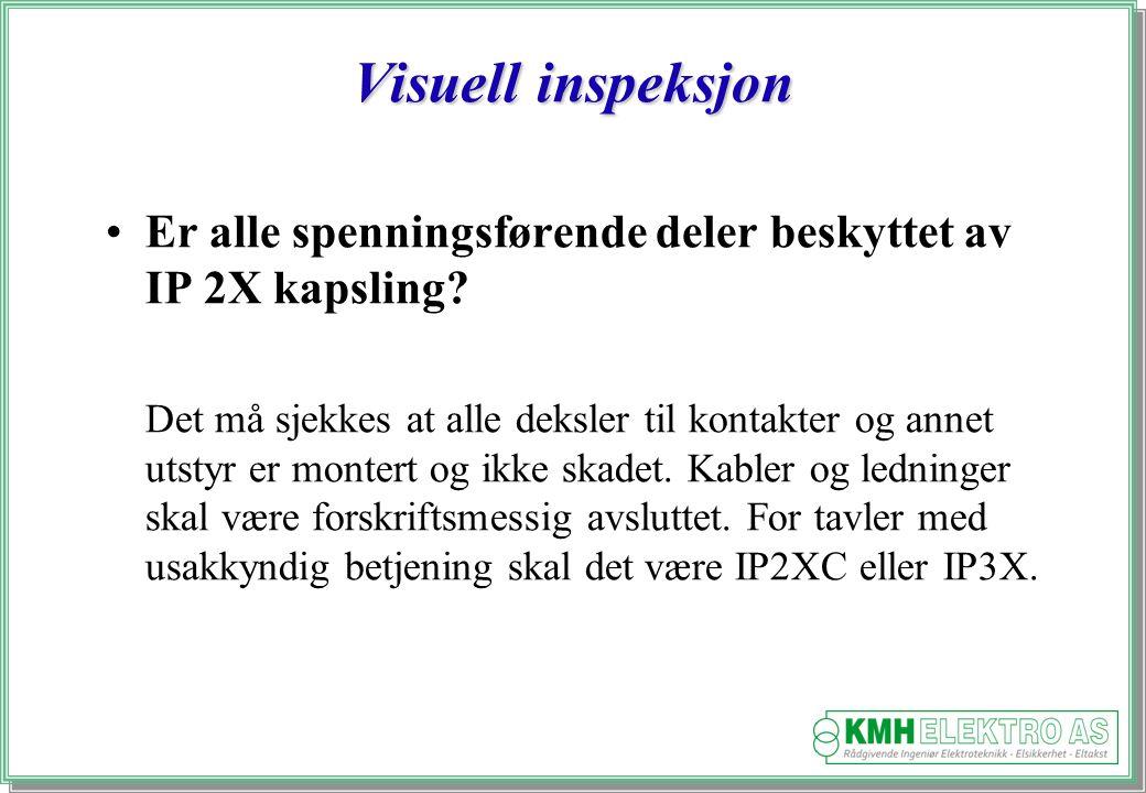 Kjell Morten Halvorsen Visuell inspeksjon Er alle spenningsførende deler beskyttet av IP 2X kapsling.