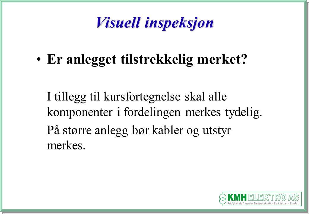Kjell Morten Halvorsen Visuell inspeksjon Er anlegget tilstrekkelig merket.