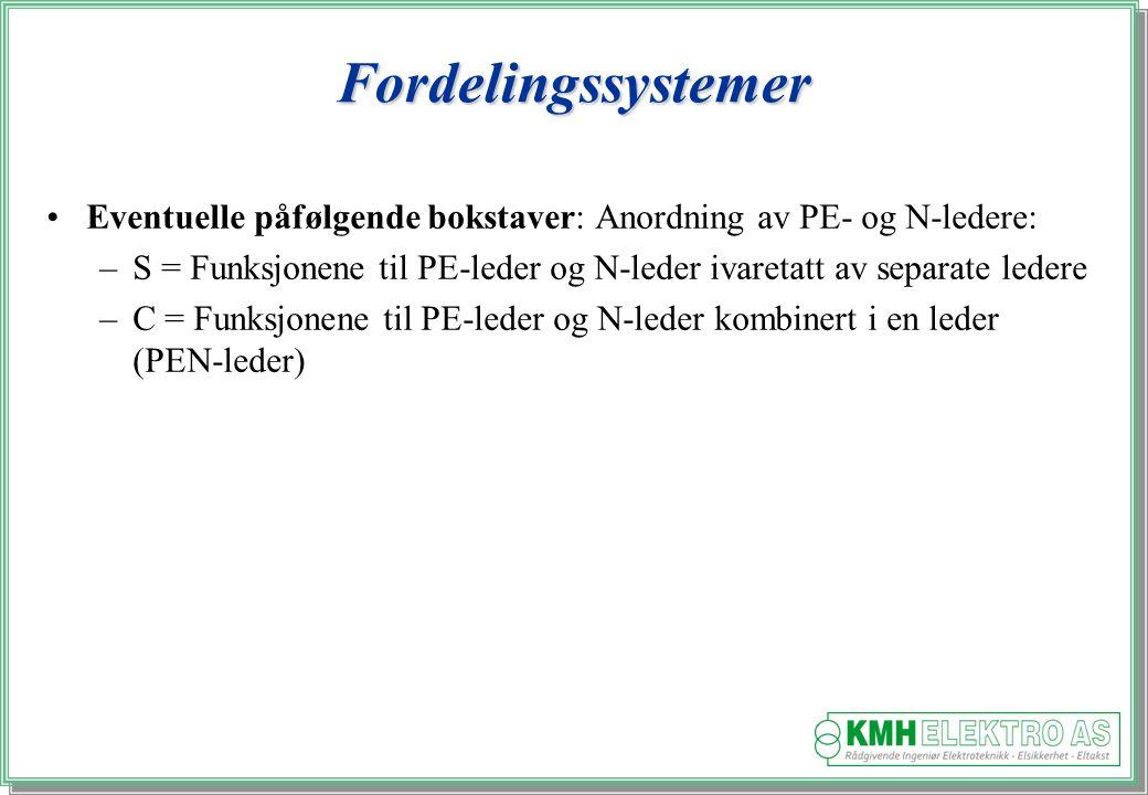 Kjell Morten Halvorsen Fordelingssystemer Eventuelle påfølgende bokstaver: Anordning av PE- og N-ledere: –S = Funksjonene til PE-leder og N-leder ivaretatt av separate ledere –C = Funksjonene til PE-leder og N-leder kombinert i en leder (PEN-leder)
