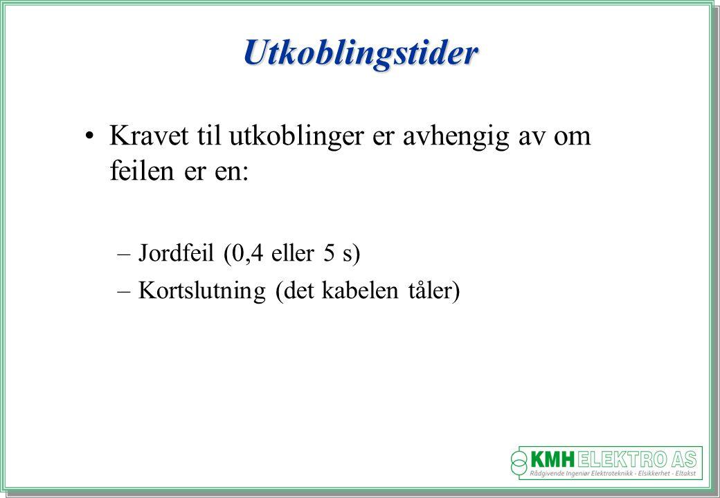 Kjell Morten Halvorsen Utkoblingstider Kravet til utkoblinger er avhengig av om feilen er en: –Jordfeil (0,4 eller 5 s) –Kortslutning (det kabelen tåler)