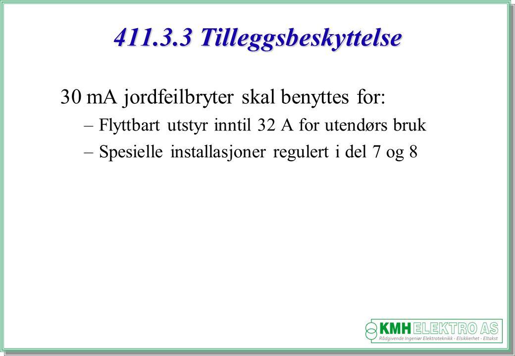 Kjell Morten Halvorsen 411.3.3 Tilleggsbeskyttelse 30 mA jordfeilbryter skal benyttes for: –Flyttbart utstyr inntil 32 A for utendørs bruk –Spesielle installasjoner regulert i del 7 og 8