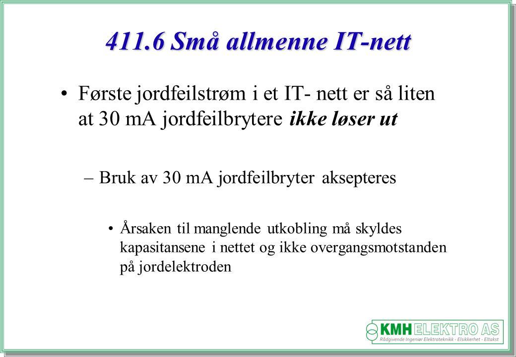 Kjell Morten Halvorsen 411.6 Små allmenne IT-nett Første jordfeilstrøm i et IT- nett er så liten at 30 mA jordfeilbrytere ikke løser ut –Bruk av 30 mA jordfeilbryter aksepteres Årsaken til manglende utkobling må skyldes kapasitansene i nettet og ikke overgangsmotstanden på jordelektroden