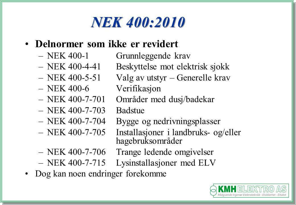 Kjell Morten Halvorsen NEK 400:2010 Delnormer som ikke er revidert –NEK 400-1Grunnleggende krav –NEK 400-4-41Beskyttelse mot elektrisk sjokk –NEK 400-5-51Valg av utstyr – Generelle krav –NEK 400-6Verifikasjon –NEK 400-7-701Områder med dusj/badekar –NEK 400-7-703Badstue –NEK 400-7-704Bygge og nedrivningsplasser –NEK 400-7-705Installasjoner i landbruks- og/eller hagebruksområder –NEK 400-7-706Trange ledende omgivelser –NEK 400-7-715 Lysinstallasjoner med ELV Dog kan noen endringer forekomme