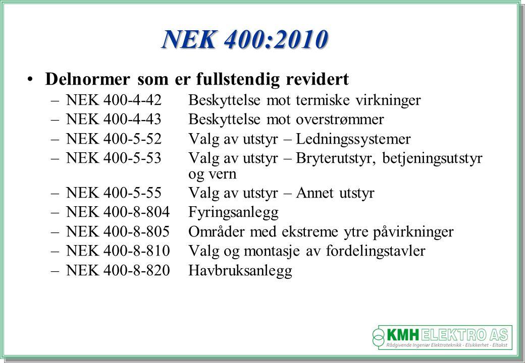 Kjell Morten Halvorsen NEK 400:2010 Delnormer som er fullstendig revidert –NEK 400-4-42Beskyttelse mot termiske virkninger –NEK 400-4-43Beskyttelse mot overstrømmer –NEK 400-5-52Valg av utstyr – Ledningssystemer –NEK 400-5-53Valg av utstyr – Bryterutstyr, betjeningsutstyr og vern –NEK 400-5-55Valg av utstyr – Annet utstyr –NEK 400-8-804Fyringsanlegg –NEK 400-8-805Områder med ekstreme ytre påvirkninger –NEK 400-8-810Valg og montasje av fordelingstavler –NEK 400-8-820Havbruksanlegg