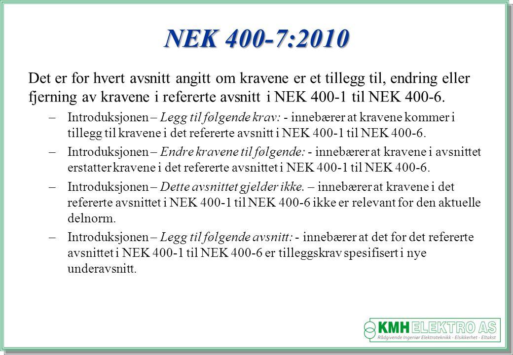 Kjell Morten Halvorsen NEK 400-7:2010 Det er for hvert avsnitt angitt om kravene er et tillegg til, endring eller fjerning av kravene i refererte avsnitt i NEK 400 ‑ 1 til NEK 400 ‑ 6.