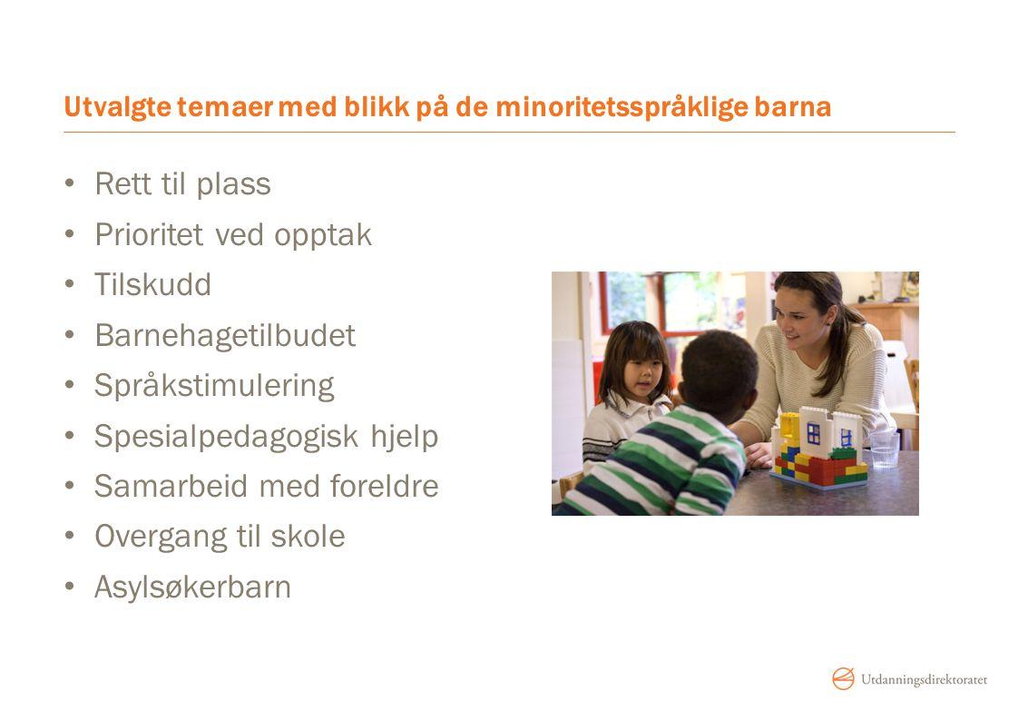 Utvalgte temaer med blikk på de minoritetsspråklige barna Rett til plass Prioritet ved opptak Tilskudd Barnehagetilbudet Språkstimulering Spesialpedagogisk hjelp Samarbeid med foreldre Overgang til skole Asylsøkerbarn