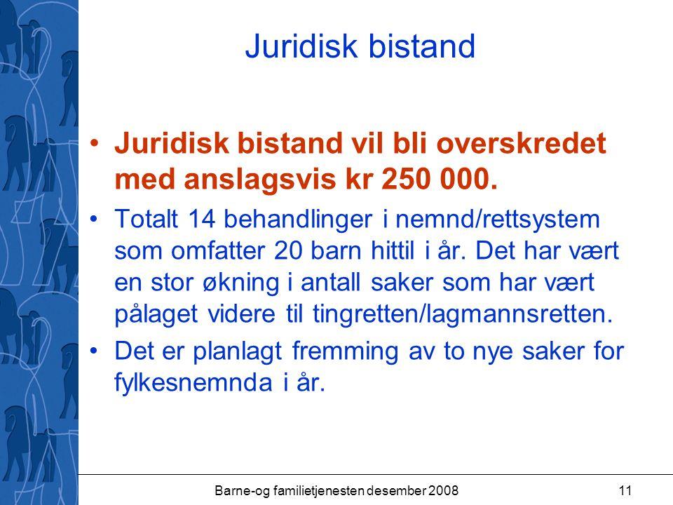 Barne-og familietjenesten desember 200811 Juridisk bistand Juridisk bistand vil bli overskredet med anslagsvis kr 250 000.