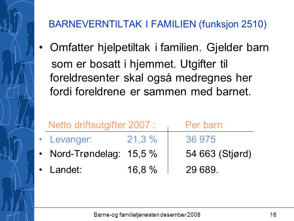 Barne-og familietjenesten desember 200816 BARNEVERNTILTAK I FAMILIEN (funksjon 2510) Omfatter hjelpetiltak i familien.
