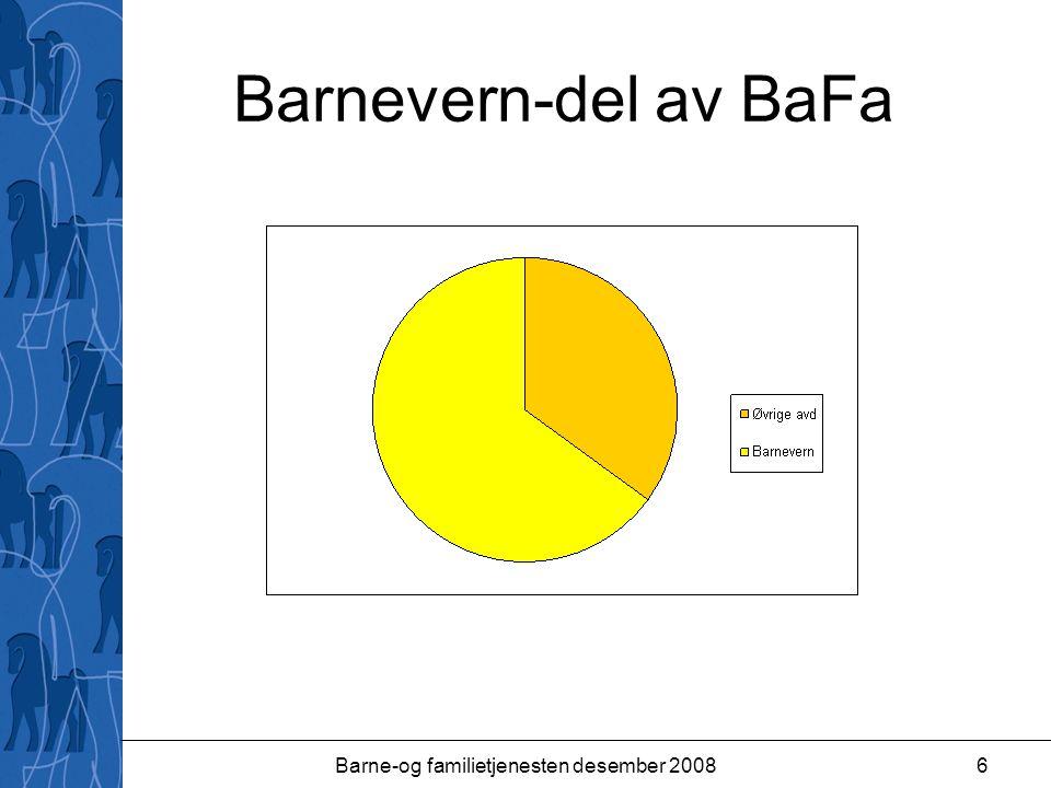 Barne-og familietjenesten desember 200817 BARNEVERNTILTAK UTENFOR FAMILIEN (Funksjon 2520) Omfatter tiltak til barn som er plassert i fosterhjem og institusjon.